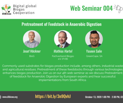 Web Seminar 04 - Pretreatment of Feedstock in Anaerobic Digestion